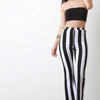 High Waist Striped Flare Pant