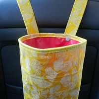 Car Trash Bag with Water Resistant PUL Lining for Head Rest Bright Yellow Flowers & Hot Pink Lining Washable Car Trash/Waste/Refuse Bag