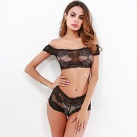 Sexy Cute On Sale Hot Deal Ladies Lace Patchwork Set Exotic Lingerie [519557283881]