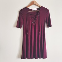 Denise Ribbed Maroon Lace Up Dress