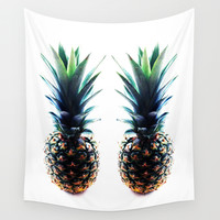 Black Pineapple Wall Tapestry by Lillyan