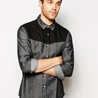 ASOS | ASOS Denim Shirt In Long Sleeve With Coated Yoke at ASOS