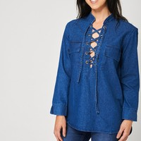 Criss Cross Front Denim Top Ex-Branded