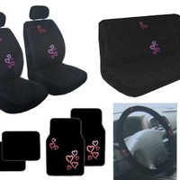 Auto Interior Red and Pink Hearts Back Bucket Seat Covers, Head Rest Covers, Bench Seat Cover, Steering Wheel Cover, Shoulder Harness Pressure Relief Cover, Front Floor Mats, and Black Rear Floor Mats - 15-Pieces