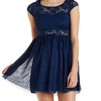 Lace & Tulle Skater Dress by Charlotte Russe