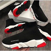 BALENCIAGA Classic Women Men Casual Breathable Sport Socks Shoes Black&White&Red