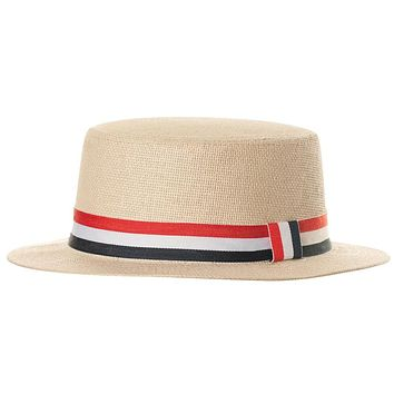 Straw Hat With Flag Band   Adult