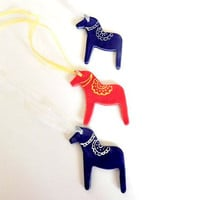 Blue Horse Ceramic Decoration Christmas Gift Pottery Ornament Dala Horse Inspired