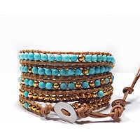Chan Luu Style Wrap Bracelet Turquoise and Gold Nuggets