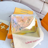 Hipgirls  Louis Vuitton LV Fashion Ladies Colorful Embossed Lettering Cosmetic Bag