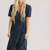 Lynette Navy Print Wrap Dress