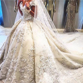 Cathedral Train Top Quality Wedding Ball Gowns 2016 Short Sleeve Handmade Flowers Ivory Wedding Dresses Detachable Bridal Gowns
