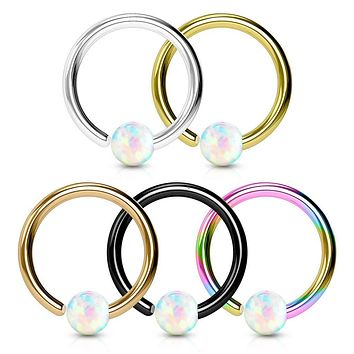 WILDKLASS 5 Pcs Value Pack IP Plated White Opal Ball Fixed 316L Surgical Steel Hoop Nose Rings