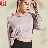 Lululemon New fashion solid color women sports leisure hooded long sleeve top sweater Pink