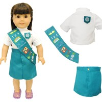 """Doll Clothes Fits American Girl 18"""" Inch Outfit Junior Girl Scout Uniform"""