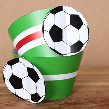 Printable 3D Soccer Ball (football) Sports Party Cupcake Wrapper Set with a green & white  horizontal stripes INSTANT DOWNLOAD