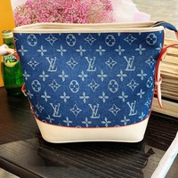LV Louis vuitton fashion hit sells women's denim printed patchwork leather cross-bucket bags
