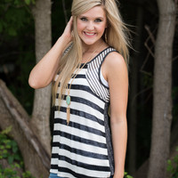 Summer Breeze Tank - Charcoal/Off White