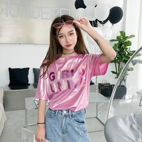 Kawaii Women T-shirt Ulzzang Summer Short Sleeve T shirt Japan Harajuku Letter Tops Tee Preppy Tshirt HT1336