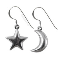 Moon & Star Sterling Silver Earrings on Sale for $14.95 at The Hippie Shop