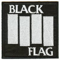 Black Flag Iron-On Patch White Letters Logo