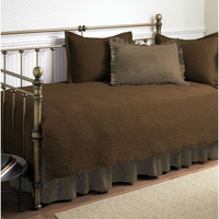 Twin 5 Piece Daybed Quilt Set with Scalloped Edges in Chocolate Brown