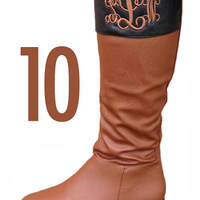 Monogrammed Cognac & Black Two Toned Riding Boot | Footwear | Marley Lilly