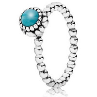 Authentic Pandora Jewelry - Birthday Blooms December w-Turquoise Ring