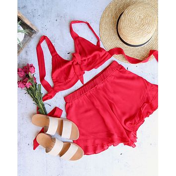 Final Sale - Reverse - Layla Linen Two Piece Set in Red