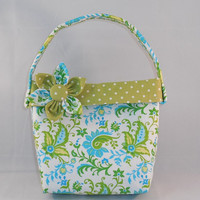 Little Girls' Green, Blue and White Paisley Purse