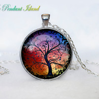 TREE OF LIFE Pendant  Tree of life Necklace Orange Turquoise  Yellow White Silver Jewelry Necklace for him  Art Gifts for Her(P3H04V02)