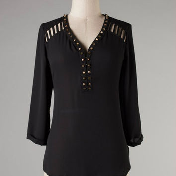 Studded Diva Top -- Black
