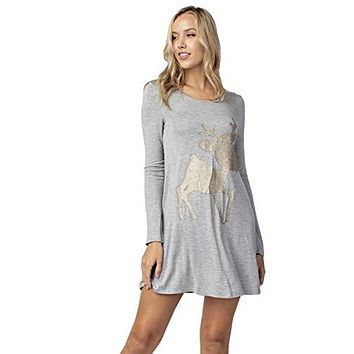 12pm by Mon Ami Women's Casual Long Sleeve Knit Christmas Tunic/Dress with Reindeer