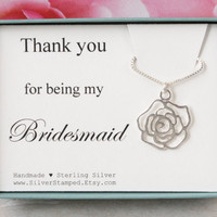 Gift for Bridesmaid gift sterling silver necklace Thank you for being my Bridesmaids gift flower charm in a gift box bridal party gifts