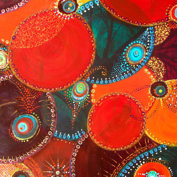 CIRCLES OF LIFE Original Acrylic Painting on Canvas Colorful Circles Intertwining with bright bursts of colors, Patterns Trees and Birds