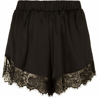**Satin Shorts with Lace Trim by Oh...