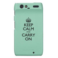 Keep Calm And Carry On Green Calcite Motorola Droid RAZR Cases from Zazzle.com
