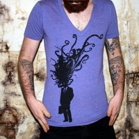 Tentacle Corporate Man Explosion Deep V Neck by darkcycleclothing