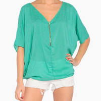Zip Up Poncho Top in Sea Green