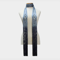 Grey Ombre Tie Dyed Thin Fringe Rope Scarf