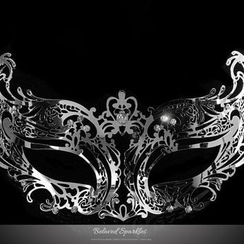 Liana Silver Metal Lace Masquerade Mask | Metal