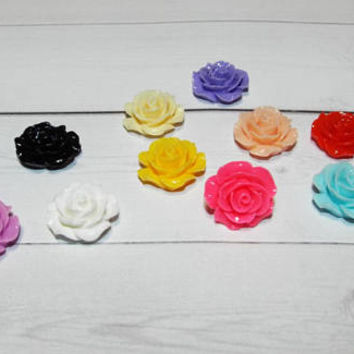 floral Thumb Tacks / Push Pins - Fabric Covered Buttons - pineapple set of 4, 6, 8, or 10 ... office accessories