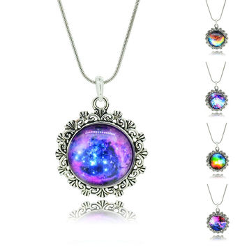 No Mini order Best Selling Mix Lovely Color galaxy, Nebula, Space, Antique Silver Alloy Pendant Necklace Friendship Couple Gift