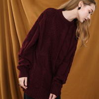 Cable Knit Oversized Red Sweater