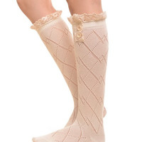 Ivory Knee High Boot socks with diamond knit & crochet lace