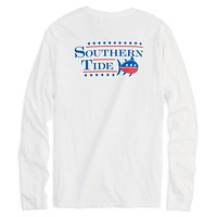 Long Sleeve Election Tee Shirt in Classic White by Southern Tide