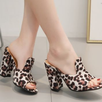 Hot style hot selling sexy leopard print fish mouth thick heels