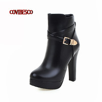 Punk Sexy High Platforms Martin Boots Women High Heels Shoes Side Zipper Ankle Boots 2016 Fashion Martin Shoes Plus Size 34-43