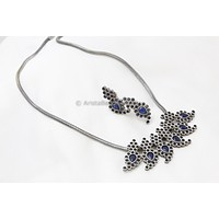 Silver Tone Blue Stone Necklace