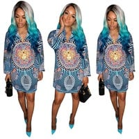 VERSACE Newest Fashion Women Sexy Print Long Sleeve Lapel Blue Shirt Dress